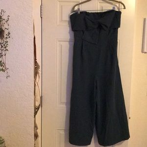 Anthropologie green bow tie jumpsuit